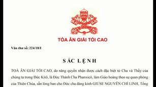 Sắc lệnh ban ơn toàn xá Tòa Ân Giải tối cao về Năm Thánh kính các Thánh Tử Đạo tại VN 2018