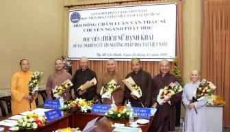 TP.HCM: Học viên cao học Phật giáo bảo vệ luận văn