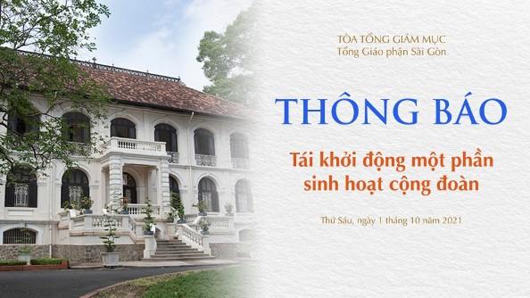 Tòa TGM Sài Gòn: Tái khởi động một phần sinh hoạt cộng đoàn (ngày 01.10.2021)