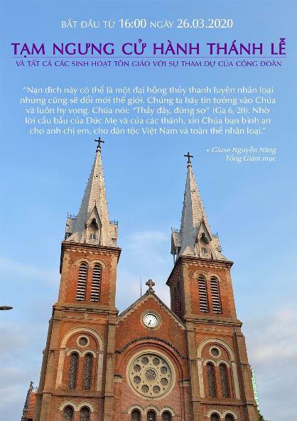 Tòa TGM Sài Gòn: Thông báo tạm ngừng thánh lễ trong giáo phận